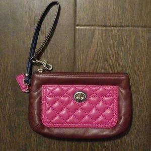 Coach Quilted Color Block Wristlet